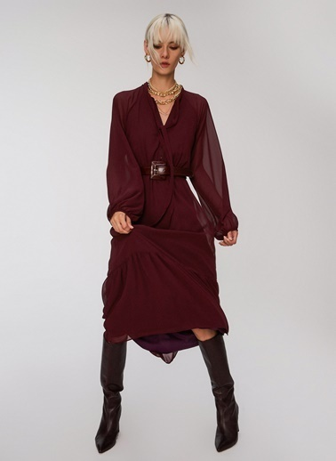 People By Fabrika Bağlama Detaylı Elbise Mürdüm